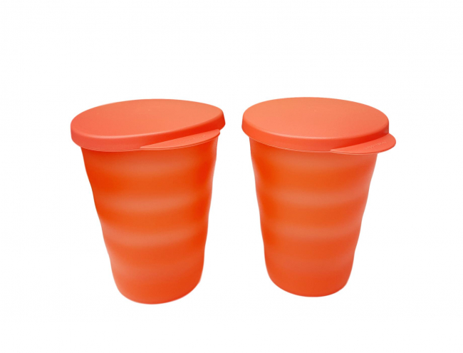 Tupperware 2 Becher Junge Welle orange